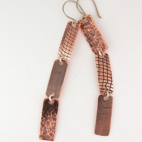$39 - Copper Rain Earrings - Mix - Textured copper long dangles - Maggie Connolly Designs