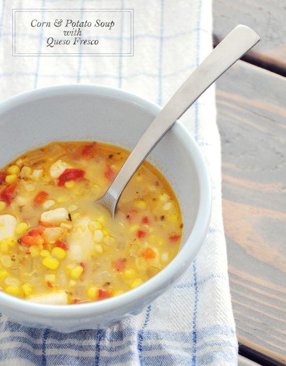 Corn & Potato Soup with Queso Fresco