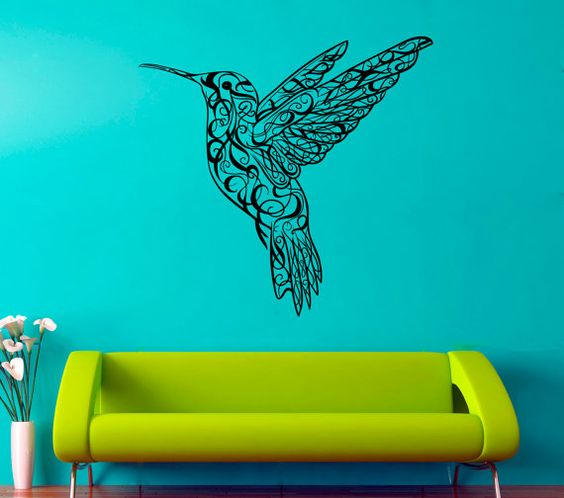 Colibri Wall Vinyl Decal Hummingbird Wall Vinyl Sticker Birds Decals Home Art Decor (2cri)