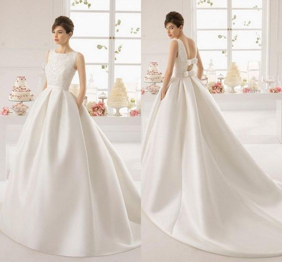 Ivory/White Satin Long Train Ball Gowns Wedding Dresses 2015 New Fashion Big Bow Waist Luxury Beaded A Line Bridal Gowns For Woman #dhgatePin