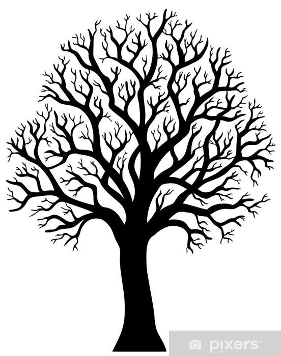 Silhouette Of Tree Without Leaf 2 Sticker Pixers We Live To Change Leaf Illustration Metal Tree Wall Art Tree Art