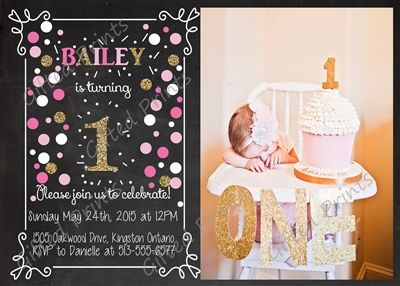 Birthday Invitation • Pink and Gold Confetti Theme • Free economy shipping • Fast turnaround time • Great customer service • These birthday invitations are custom, high resolution digital files that are personalized for each customer upon order