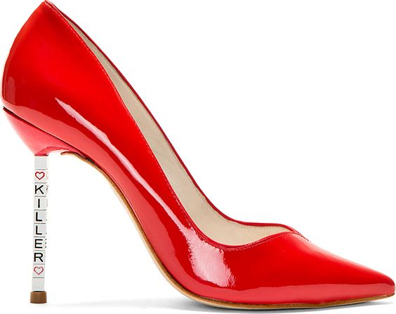 Sophia Webster - Red Patent Leather Lyla Text Heel Pumps
