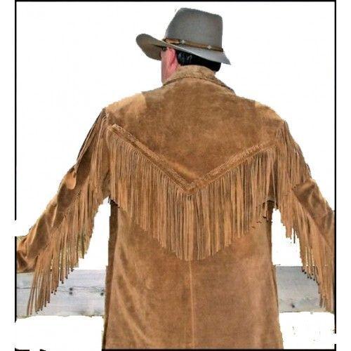 Da Uomo Cowboy Giacca in pelle scamosciata vintage American Frange Perline Western Wear Cappotto