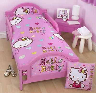 #Hello kitty pink junior toddler cot bed #duvet set quilt #cover boys girls beddi, View more on the LINK: http://www.zeppy.io/product/gb/2/400784443226/