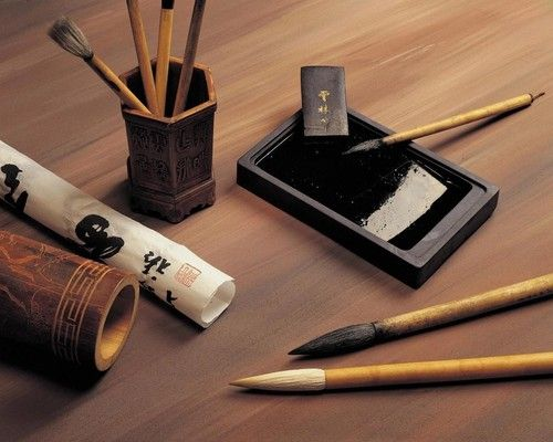 Four treasures in a classic chinese studio paper ink Chinese calligraphy brush