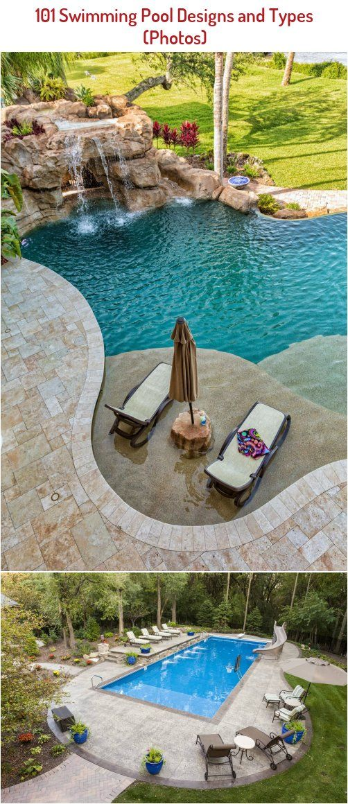 Now That S Just One Big Kids Area In The Backyard Large Rectangle Pool With A Slide Basketball Hoop Su In 2020 Geometric Pool Swimming Pools Natural Swimming Pools