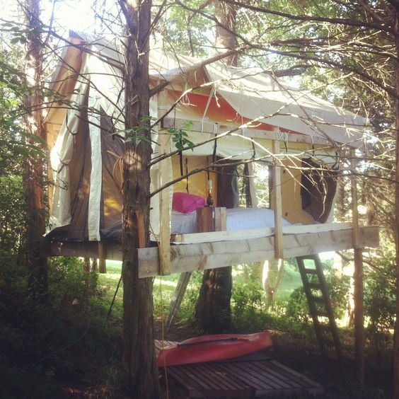 Platform yurts and building on pinterest for Tent platform construction