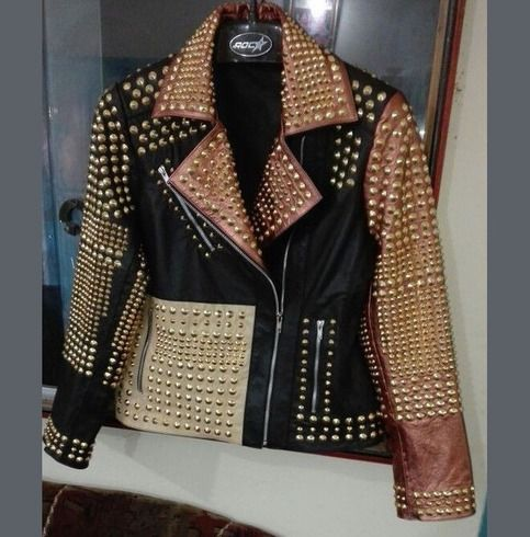 New Woman Motorcycle Fashion Golden Full Studded Leather Jacket Coats For Women Studded Leather Jacket Leather Jacket