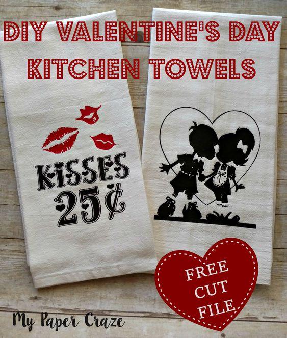 DIY Valentine's Day Kitchen Towels -My Paper Craze