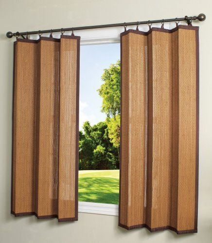Bamboo Ring Top Curtain BRP12 40-Inch L x 63-Inch H Indoor/Outdoor ...