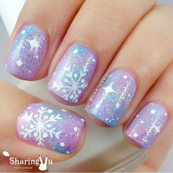 Snowflake nail art, pink & blue galaxy background