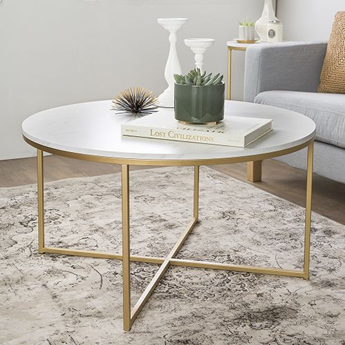 Walker Edison Furniture Co 36 Inch Coffee Table With X Base Marble Gold Af36alctmgd In 2020 With Images Faux Marble Coffee Table Marble Round Coffee Table Gold Coffee Table
