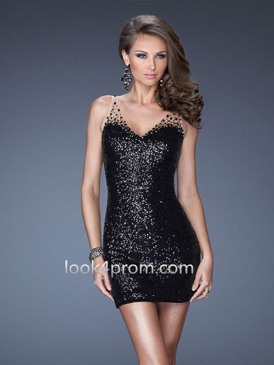 Sequins Short Prom Dress, Black Homecoming Dress