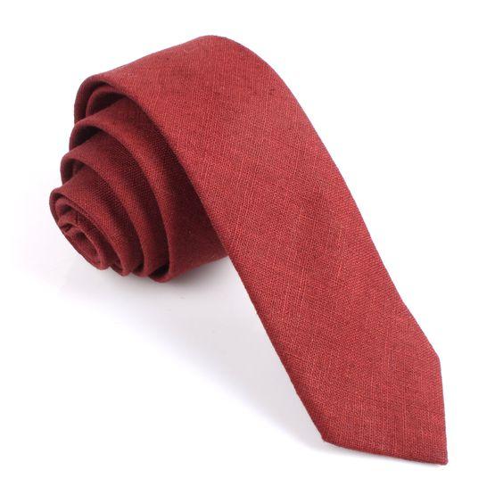 Maroon Slub Linen Skinny Tie | Thin Narrow Slim Ties | The Brothers at OTAA.COM