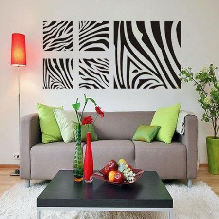 Zebra print bedroom decor removable wall art for Room decor zebra print