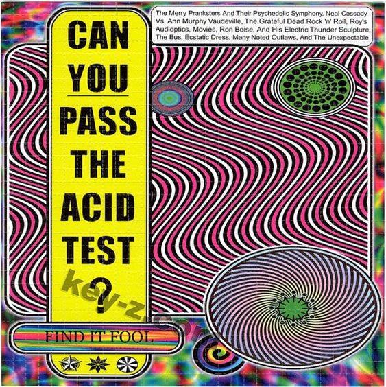 Can YOU Pass The Acid Test? swirl BLOTTER ART perforated acid art paper -Kesey Leary Hofmann Owsley Grateful Dead psychedelic lsd sheet tabs