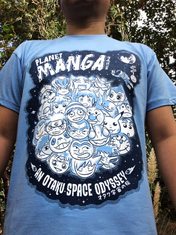 PLANET MANGA T-Shirt - an Otaku Space Odyssey - Blue - Size: M, L - Original Artwork - Hand Screen Printed - Illustrated Tee - Anime Tshirt by WestostCartoonLovers on Etsy https://www.etsy.com/uk/listing/465514436/planet-manga-t-shirt-an-otaku-space