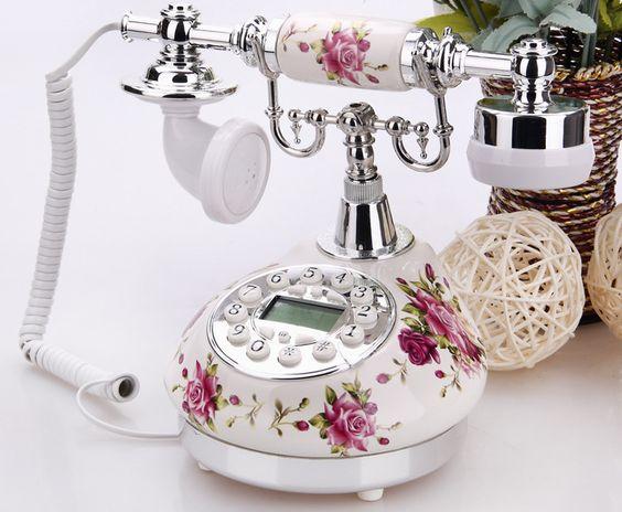 mode elegante vintage mechanische rustieke keramische huisdecoratie retro telefoon antieke telefoon roterende