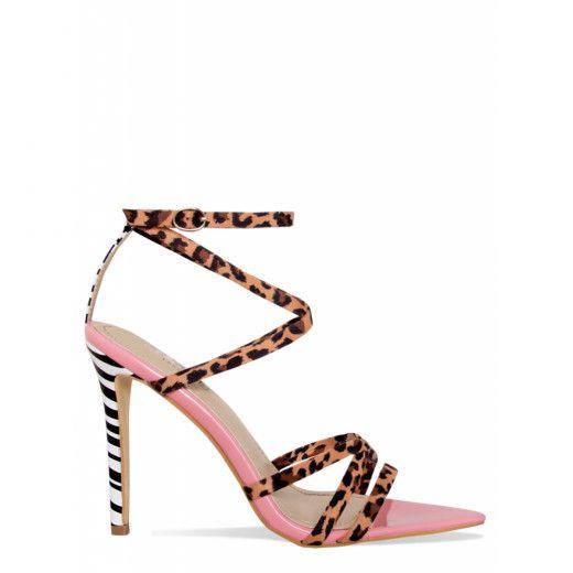 Strappy heels, Pink leopard, Heels classy