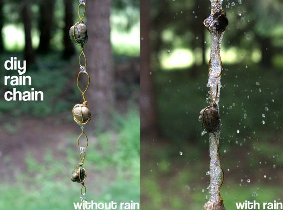 Make an inexpensive rain chain to replace a downspout, using materials from the dollar store.