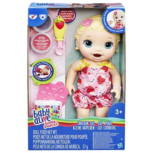 From 10 29 Baby Alive Super Snacks Snackin Lily Blonde Baby Alive Baby Alive Dolls Baby Alive Food