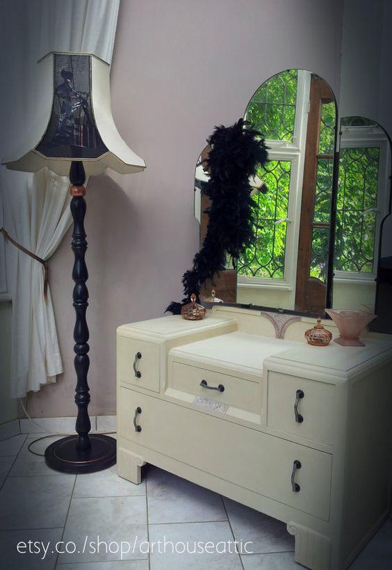 Beautiful hand painted vintage dressing table via Etsy