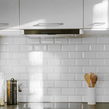 Retro Metro White Gloss Bevelled Brick Tile White Kitchen Splashback White Kitchen Wall Tiles Kitchen Splashback Tiles