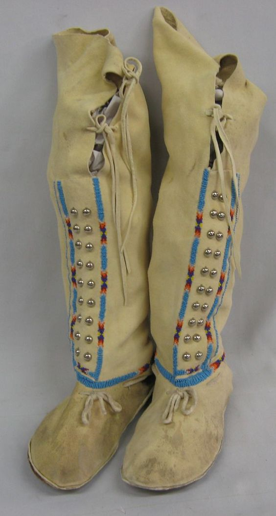 Plains Indian Beaded Doeskin Hightop Moccasins