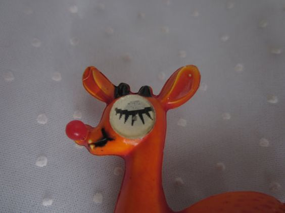 Christmas Winking Rudolph Reindeer Brooch Pin Vintage Big Eye.  Sold to a collector in France - less than 24 hours after listing.: Pin Vintage, Brooch Pin, Rudolph Reindeer, 24 Hours, Big Eye, Christmas Winking, Vintage Big