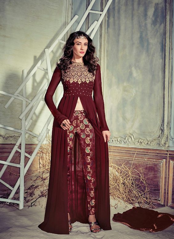 Achkan Style Incredible Salwar Kameez in Maroon