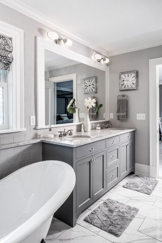 The grey cabinet paint color is Benjamin Moore Kendall ...