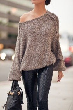 .: Fashion Style, Street Style, Outfit, Slouchy Sweater, Sequin Pants, Fall Winter