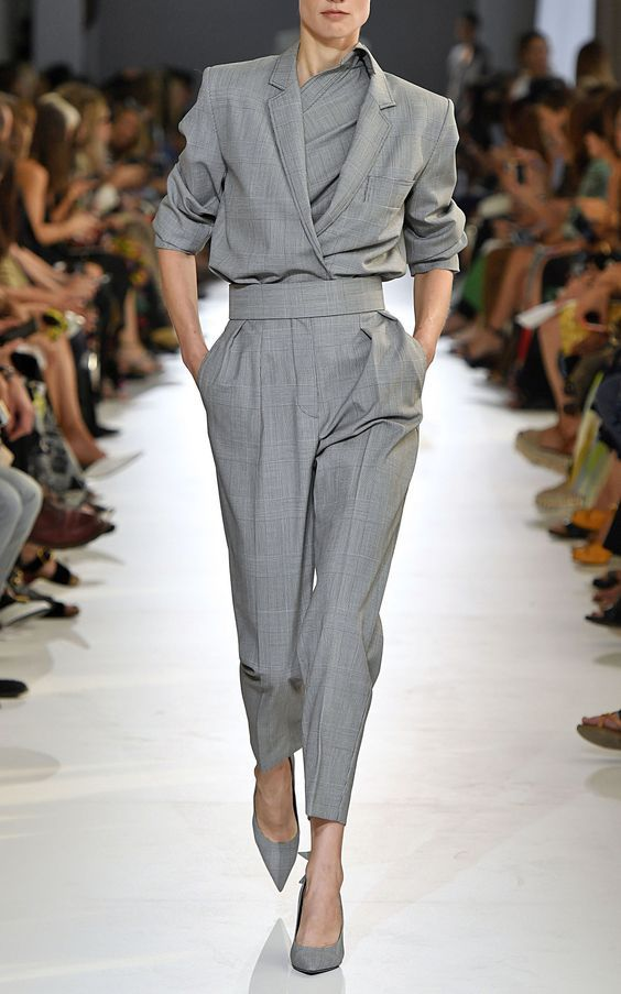 Visit our blog for more inspiration! Max Mara, jumpsuit, jumpsuit looks, designer jumpsuit, jumpsuit outfit, elegant look, designer clothing, grey jumpsuit, best looks, looks to copy, runway looks, catwalk looks, fashion trends, designer outfit, fashion show, fashion week, party looks, day looks, v-neck jumpsuit, office looks, office outfit, office wear