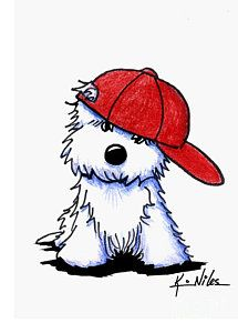 Westie Print featuring the drawing Too Cool For School by Kim Niles