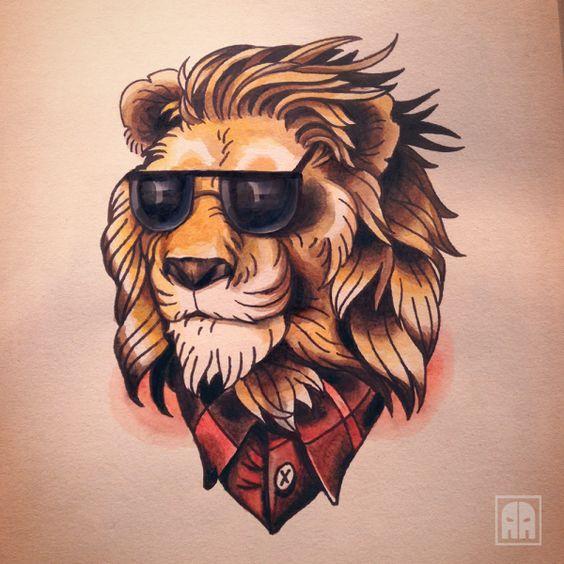 тату лев рисунок