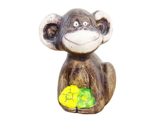 Goofy Grin Ceramic Monkey Figurine  Bookshelf Accent by LocalRetro, $14.00