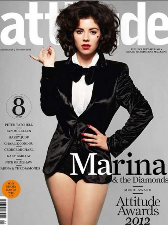 """Marina and the Diamonds with her all time favorite Velour Lashes 'Doll Me Up' on the cover of Attitude Magazine! She tweets: """"Velour Lashes are the best lashes in the world!"""""""