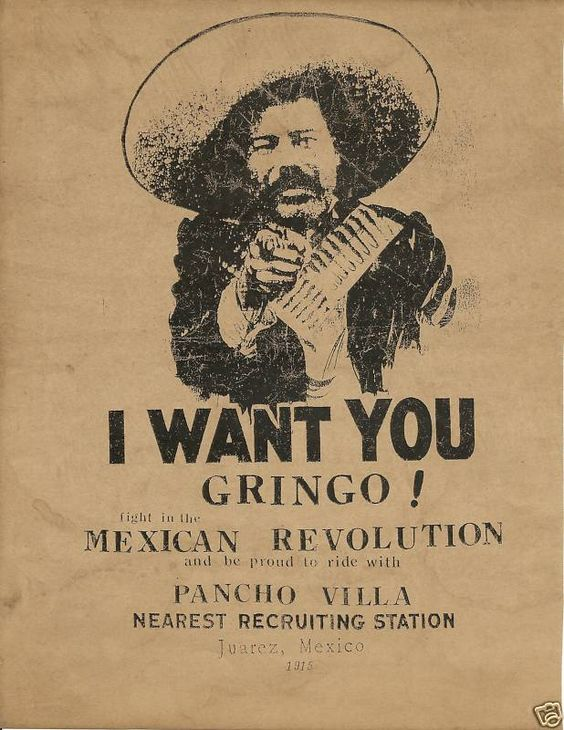 Pancho Villa recruiting poster. LOVE this! watch this video and sign my petition, thank you, https://www.youtube.com/watch?v=XClI8FGMVa4