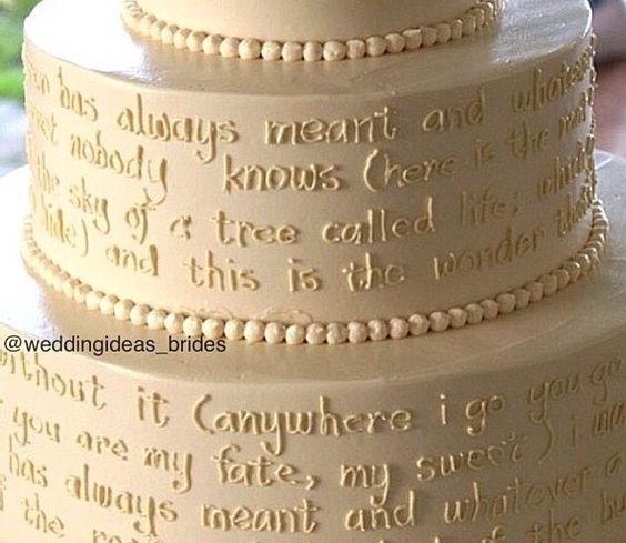 Write lyrics of your theme sine to your wedding cake..  Nice.