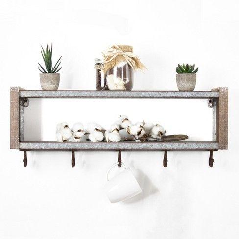 24 7 X 9 5 Decorative Galvanized Metal And Wood Target Wall Shelf With Hooks Wood Wall Shelf Metal Wall Shelves