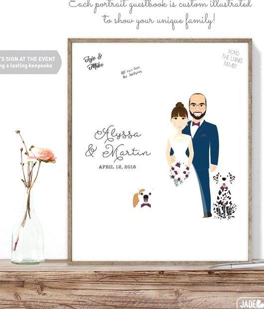 Alternative Guestbook Canvas Sign In Wedding Guest Book Alternative Couple Portrait Guest Book