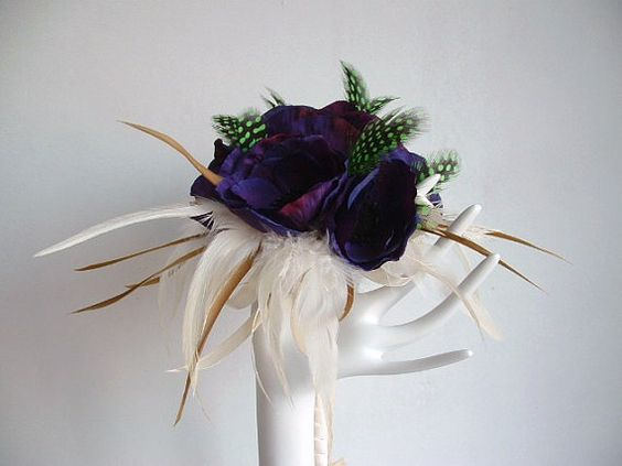 Anemone and Feather Brides Maids Bouquets by ynasbridal on Etsy