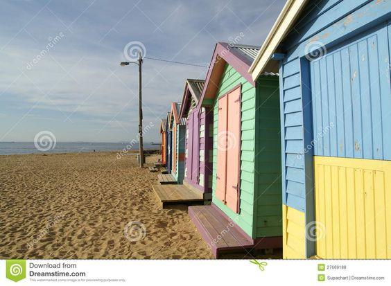 Buntes Häuschen, Brighton-Strand, Melbourne Lizenzfreie Stockfotos - Bild…