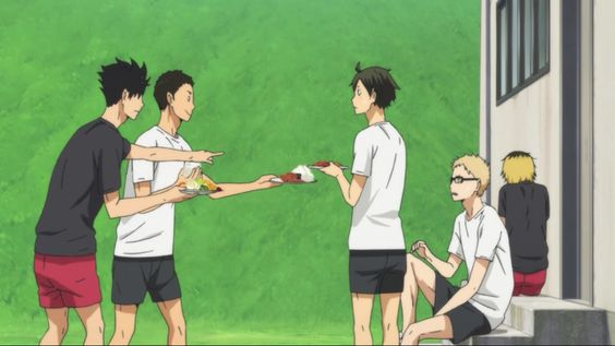 Screencaps of Haikyuu!! The captains were trying to feed Tsukishima.
