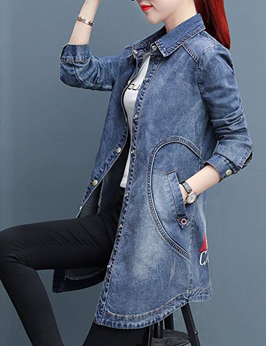 Liengoron Womens Casual Long Sleeve Stand Collar Denim Jean Baseball Jacket Outerwear