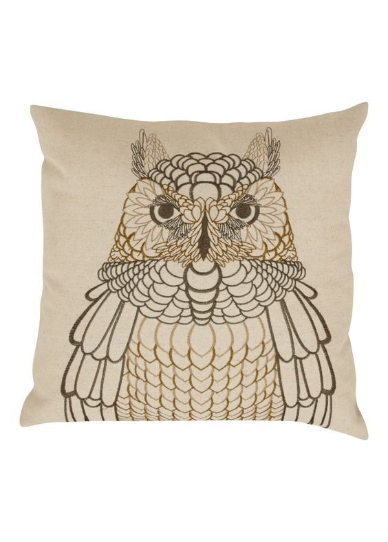 Embroidered Owl Cushion