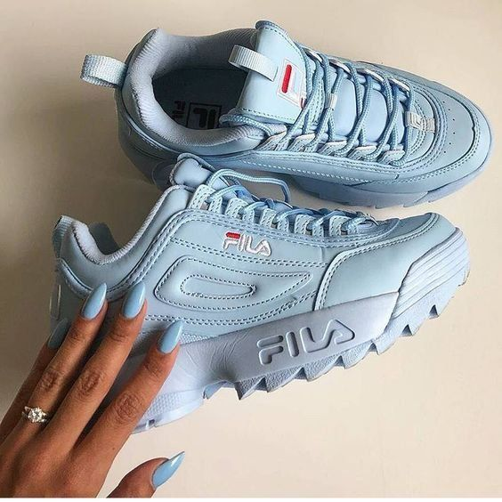Sneakers | Baby blue sneakers | Fila | Inspiration | More on