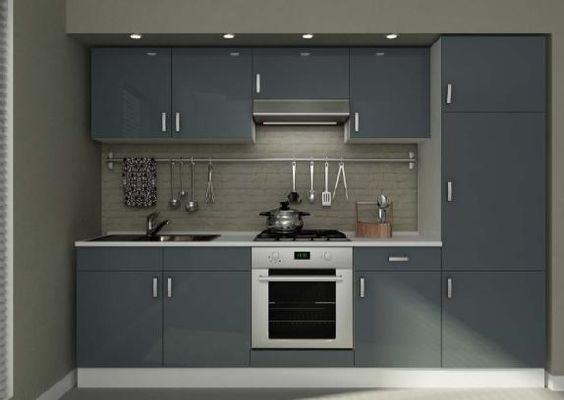 Cucina da 270 bianca e grigio laccato in kit senza ...