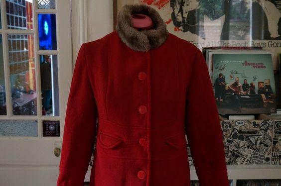 vintage 60s 70s handmade red woolen coat by dieyoungstaypretty